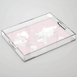 World map, highly detailed in dusty pink and white, square Acrylic Tray