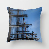 ships Throw Pillows featuring Tall ships by Stu Naranch