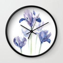 Watercolor iris print Wall Clock