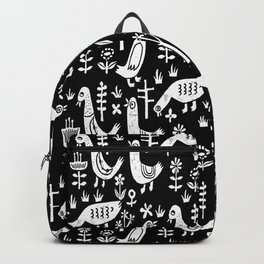 Linocut luck and white birds minimal farm pattern nature art Backpack