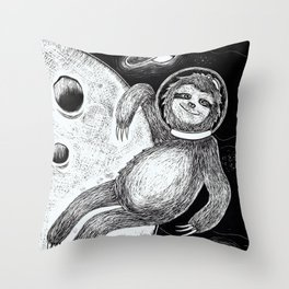 Sloth in Space Throw Pillow