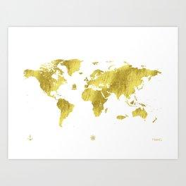 Golden ONE World map Art Print