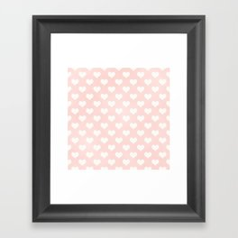 Pink Coral Love Hearts Framed Art Print