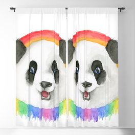 Rainbow Panda Blackout Curtain