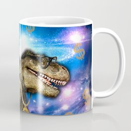 Cat Kitty Travel through Galaxy on Dinosaur T-rex with Guns and Golden chains Swag money dollars Coffee Mug
