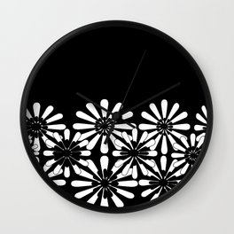 Black and White Floral Pattern Wall Clock