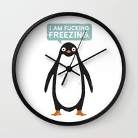 justin timberlake Wall Clocks featuring Talking Penguin by David Olenick