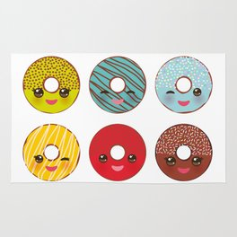 Kawaii colorful donut with pink cheeks and winking eyes, Sweet donuts set with icing and sprinkls Rug