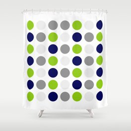 Lime Green, Bright Navy Blue, and Gray Multi Dots Minimalist Pattern on White Shower Curtain