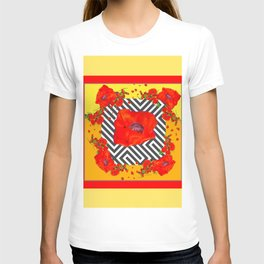 MODERN ART YELLOW-RED POPPIES GARDEN T-shirt