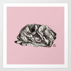 Pink Woodland Creatures - Fawn Art Print