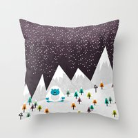 yeti Throw Pillows featuring Yeti by Kakel
