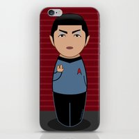 spock iPhone & iPod Skins featuring Kokeshi Spock by Pendientera