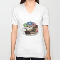donuts V-neck T-shirts featuring Donuts by Sil-la Lopez
