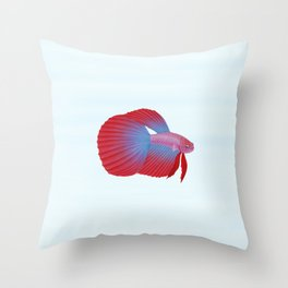 betta splendens bicolor purple male Throw Pillow