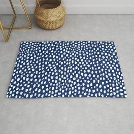 Handmade polka dot brush strokes (white/navy blue) Rug