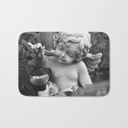Black And White Garden Angel Bath Mat