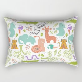Zoo Pattern in Soft Colors Rectangular Pillow
