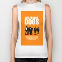 reservoir dogs Biker Tanks featuring Reservoir Dogs Movie Poster by FunnyFaceArt