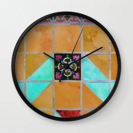 Fredericksburg Texas Vintage Ceramic Tile Pattern - Warm Gold and Aqua Blue Wall Clock