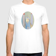 Daniel Rocket Moon MEDIUM White Mens Fitted Tee