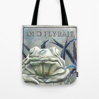 "haunted mansion Tote Bags featuring Disneyland Haunted Mansion inspired ""Old FlyBait""  by ArtisticAtrocities"