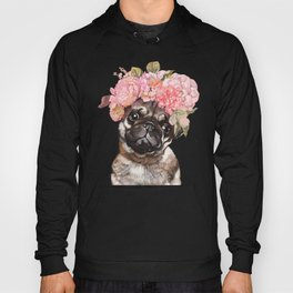 Pug with Flower Crown Hoody