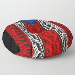 Puerto Rican Tribal Flag - Modern Boricua Floor Pillow