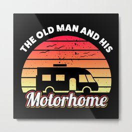 The old man and his Motorhome RV Gift Metal Print