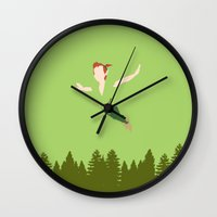 peter pan Wall Clocks featuring PETER PAN by kattie flynn