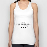 superheros Tank Tops featuring Even Superheros Need Sleep by Nina & Charlotte