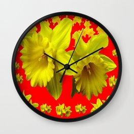 RED & YELLOW DAFFODILS GARDEN ART Wall Clock