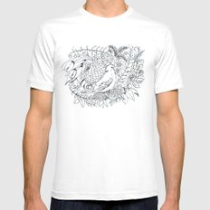 Sketched bird and flowers Mens Fitted Tee MEDIUM White