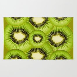 TROPICAL GREEN KIWI SLICED FRUIT MODERN ART Rug