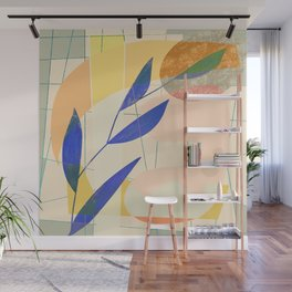 Shapes and Layers no.9 - Leaves and Grid Wall Mural