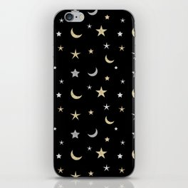 Gold and silver moon and star pattern on black background iPhone Skin