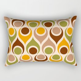 Retro teardrops atomic mid-century style orange brown geometrics Rectangular Pillow
