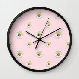 Flower Flowers Daisies in love- pink floral pattern Wall Clock