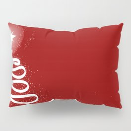 Red Scrible Christmas Tree Pillow Sham