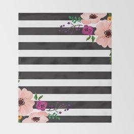 Monochrome Florals Throw Blanket
