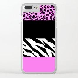Animal Print, Zebra Stripes, Leopard Spots - Pink Clear iPhone Case