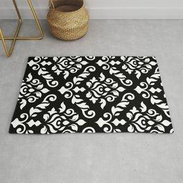 Damask Baroque Pattern White on Black Rug