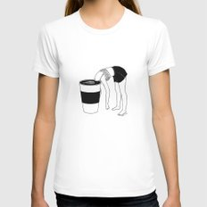 Coffee, First White SMALL Womens Fitted Tee