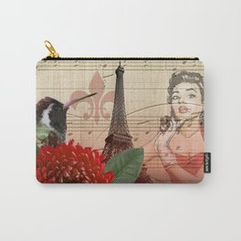 Retro Pinup Girl Vintage Paris Collage Carry-All Pouch