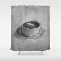 cup Shower Curtains featuring Whale in a tea cup  by Terry Fan