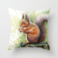 Squirrel Watercolor Painting Throw Pillow