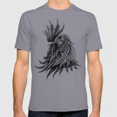 Ornately Decorated Rooster Slate X-LARGE Mens Fitted Tee