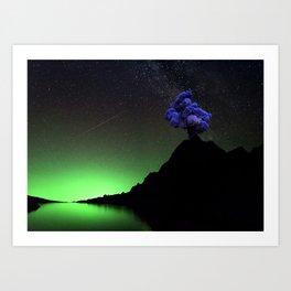 Smoke Signal on Mountain Long into Night Sky Art Print