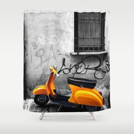 Orange Vespa in Bologna Black and White Photography Shower Curtain