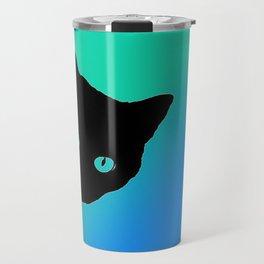 Black Cat Blue Green Tshirt Travel Mug